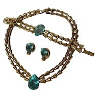 STERLING Vermeil Retro Necklace Bracelet Clip Earrings Blue Stones  3+ troy