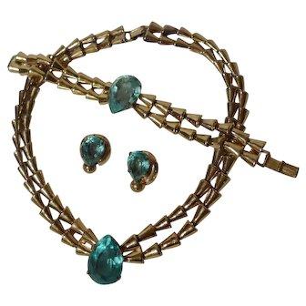 STERLING Vermeil Retro Necklace Bracelet Clip Earrings Blue Stones  3+ troy