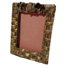 """Miniature Basketweave """"Postage Stamp"""" Picture Frame ca. 1900"""