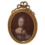FRENCH Dore Bronze Oval KPM Bow Top Antique Frame