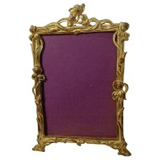 Antique ART NOUVEAU Gold-Plated Iris Frame