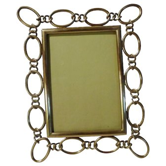 """ENGLISH Brass 1890s Frame with Oval Rings  8 3/4"""" Tall"""