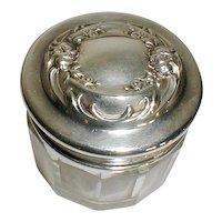 American Repousse Sterling Top Crystal Powder Jar