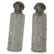 Cut Glass Cologne Bottles STERLING TOP 1901 Pair