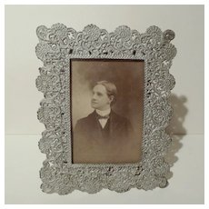 FILIGREE White Metal Picture Frame 1880s
