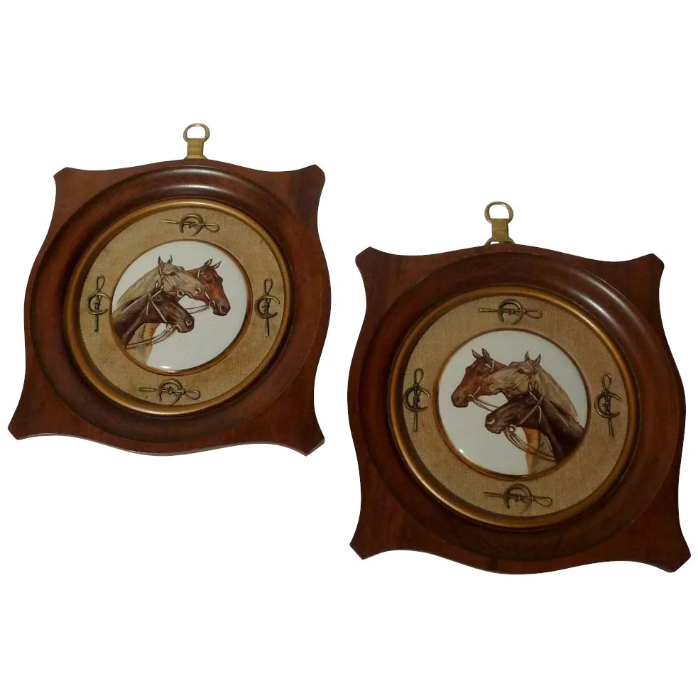 2 equestrian porcelain enamel framed horse plaques the frame click to expand jeuxipadfo Gallery