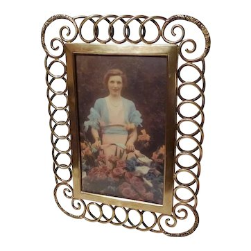 BRASS RING Loop Antique Picture Frame Ornate Corners