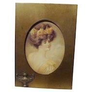 BRADLEY & HUBBARD Brass Picture Frame w/Lamp 1908