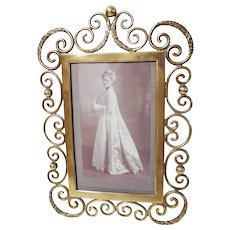 "1890s Brass Curly Ornate Scrolls 10"" Picture Frame"