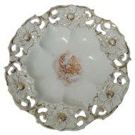 1880s Lady & Cherub Over-sized Gilded Porcelain Bowl