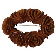 Carved BAKELITE Flower Pin 1920s-40s