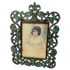 TURQUOISE Openwork Inlaid Mosaic Antique Picture Frame