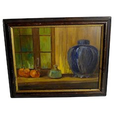 Oil on Board Still-life Painting with Fruit and Vases