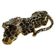 Kenneth Lane KJL Leopard Enamel Rhinestone Pin
