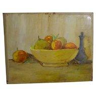 Still-life Fruit Bowl Painting on Wood Panel