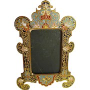 French Champleve ENAMEL Bronze Picture Frame   6.5""