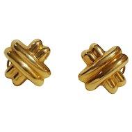 14KARAT GOLD   X   Earrings  Omega Clip and Post Backs
