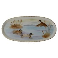 MALLARD DUCK Hand-Painted Porcelain Tray Artist Signed