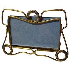 Miniature Horizontal Brass Wreath Motif Picture Frame