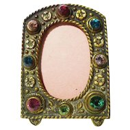 Miniature Czech. Jeweled Brass Frame 1920s
