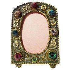 Miniature Czech. Jeweled Brass Frame 1920s