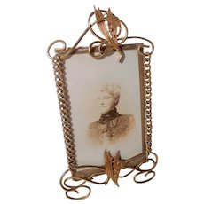 LILY of the VALLEY Brass Ring Picture Frame Beveled Glass