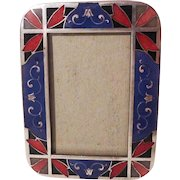 Miniature Blue and Red Enamel Picture Frame