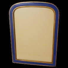 Blue ENAMEL Arch Top Picture Frame ca. 1910