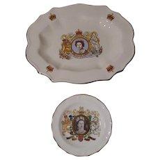 2 QUEEN Elizabeth Coronation Plates Golden Silver Jubilee