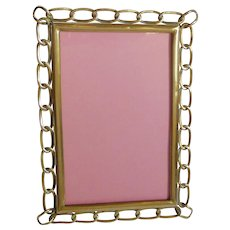 English Brass Oval Ring Picture Frame Curved Corners
