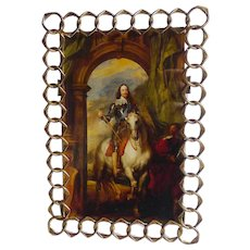"Pointed English Brass RING Picture Frame 8"" High"