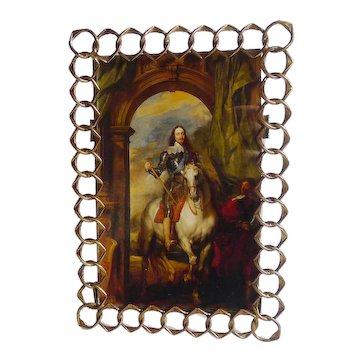 """English Brass Pointed RING Picture Frame 8"""" High"""