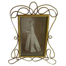 "ART NOUVEAU English Brass ""Whiplash"" Picture Frame"