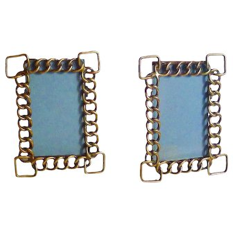 Miniature Brass Ring Picture Frames PAIR Square Corners