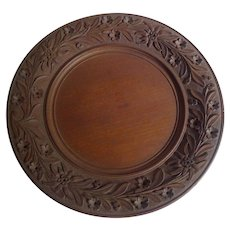 BLACK FOREST Carved Wood Bread Tray