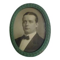 Oval VERDIGRIS Leaf & Berry Picture Frame Convex Glass