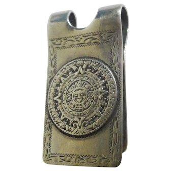 STERLING Mexico Money Clip Aztec Calendar