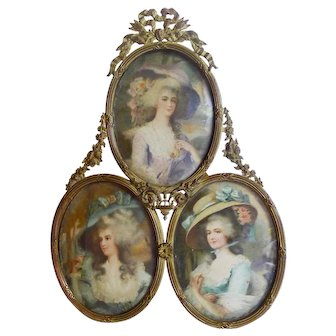 TRIPLE Oval Bronze Picture Frame Convex Glass Bow Top