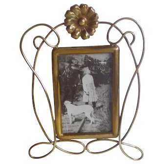 """Miniature Brass Art Nouveau """"Whiplash"""" Picture Frame"""
