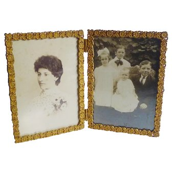 """Folding Gold-Plated Brass Hinged """"Book"""" Picture Frame 1880s"""