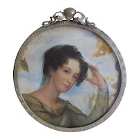 """6"""" ROUND Silver-Plated Picture Frame 1908"""