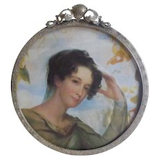 "6"" ROUND Silver-Plated Picture Frame 1908"