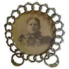 "Brass Thick 5 1/4"" Round Ring Antique Picture Frame DRGM"