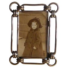 Miniature Brass Oval Ring pattern Picture Frame 1880s