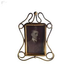 MINIATURE Art Nouveau Brass Whiplash Picture Frame