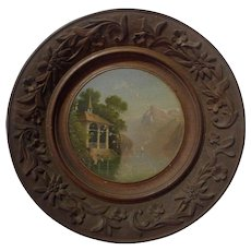 BLACK FOREST Signed Round Painting