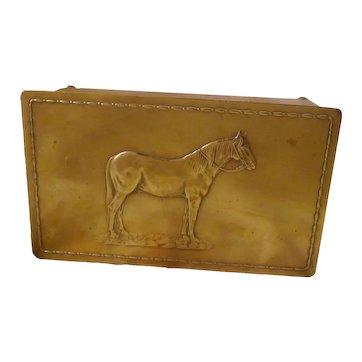 WMF HORSE Hammered Brass Box ca. 1910