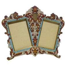 French Champleve Enamel Bronze DOUBLE Picture Frame ca. 1870
