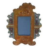 """French Champleve Enamel Bronze and Copper 12""""H Picture Frame"""