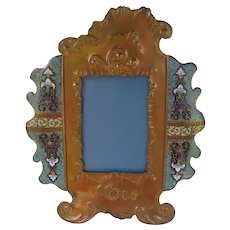 "French Champleve Enamel Bronze and Copper 12""H Picture Frame"